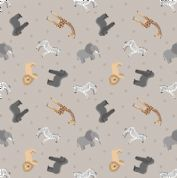 Lewis & Irene - Small Things World Animals - 6882 - African on Pale Grey - SM24.1 - Cotton Fabric